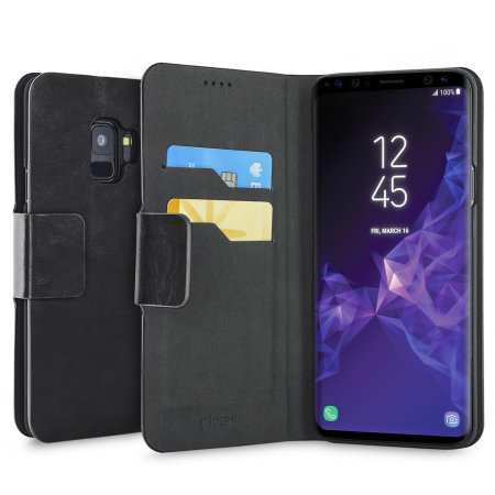 Olixar Leather-Style Samsung Galaxy S9 Wallet Stand Case - Black