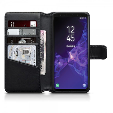best sneakers a1ad0 06313 Samsung Galaxy S9 Genuine Leather Wallet Case - Olixar - Black