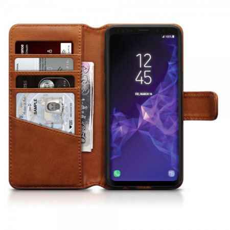 Samsung Galaxy S9 Genuine Leather Wallet Case - Olixar Cognac