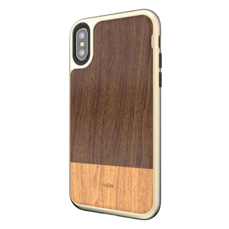 kajsa outdoor collection iphone x wooden pattern case - gold / brown