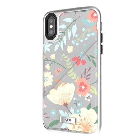 kajsa floral collection iphone x card pouch case - grey