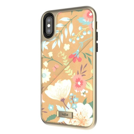 kajsa floral collection iphone x card pouch case - nude