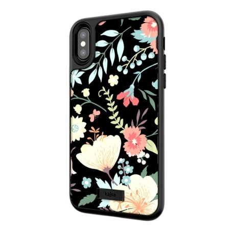 kajsa floral collection iphone x card pouch case - black