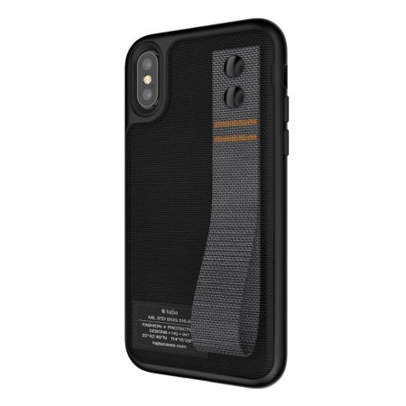 kajsa military collection straps iphone x fabric tough case - black