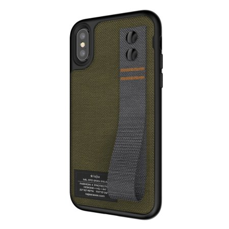 kajsa military collection straps iphone x fabric tough case - olive