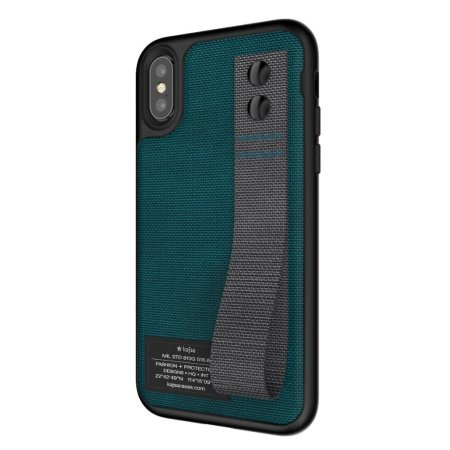 kajsa military collection straps iphone x fabric tough case - blue