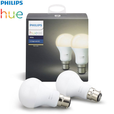 Official Philips Hue Wireless Lighting White LED Bulb B22 - Twin Pack