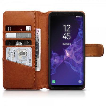 wholesale dealer bd160 a89cc Samsung Galaxy S9 Plus Genuine Leather Wallet Case - Olixar Cognac
