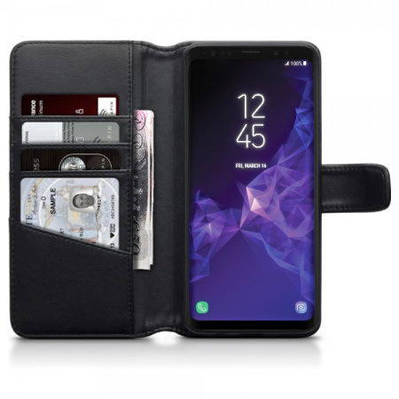 Olixar Samsung Galaxy S9 Plus Genuine Leather Wallet Case - Black