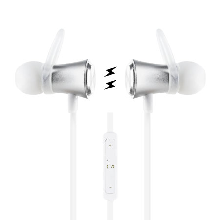 Plug 'N' Go Wireless Bluetooth Earphones with Mic - White / Silver