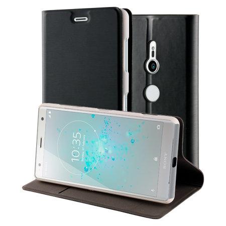 Roxfit Sony Xperia XZ2 Slim Standing Book Case - Black / Silver