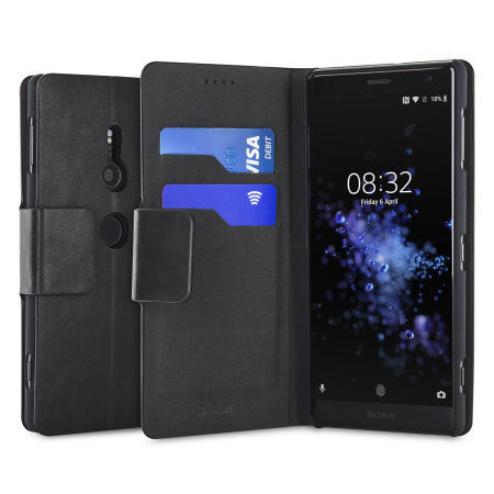 Olixar Leather-Style Sony Xperia XZ2 Wallet Stand Case - Black