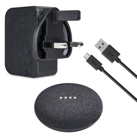 Google Home Mini Power Adapter and Cable - Charcoal Black