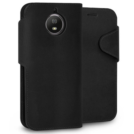Motorola Moto G5S Genuine Leather Wallet Case - Black