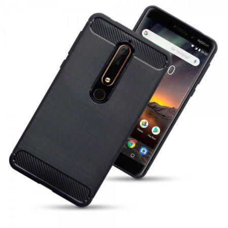new style e1070 b3214 Nokia 6 2018 Carbon Fibre Design Gel Case - Olixar Black
