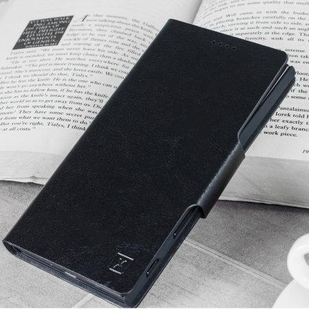 Olixar Lederen Stijl Motorola Moto E5 Portemonnee Case - Zwart