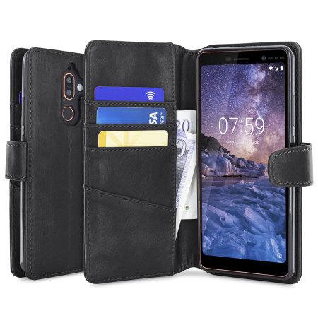 half off c370a 071c2 Nokia 7 Plus Genuine Leather Wallet Case - Olixar Black