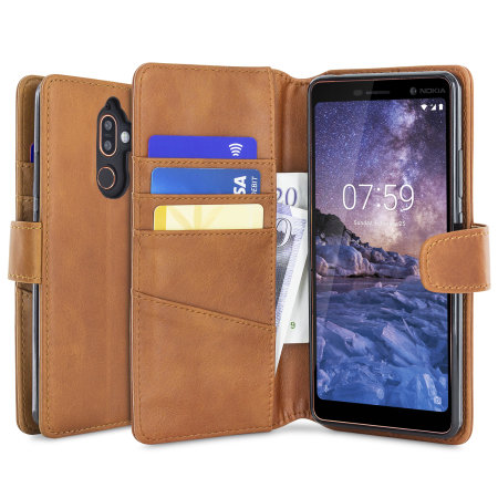 Nokia 7 Plus Genuine Leather Wallet Case - Olixar Cognac