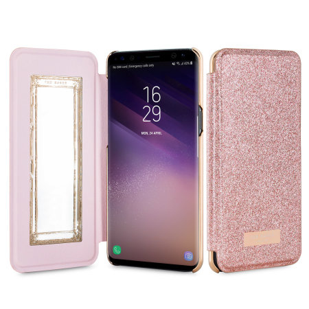big sale 3b6b1 3beb6 Ted Baker Galaxy S8 Hanas Glitter Mirror Folio Case - Rose Gold