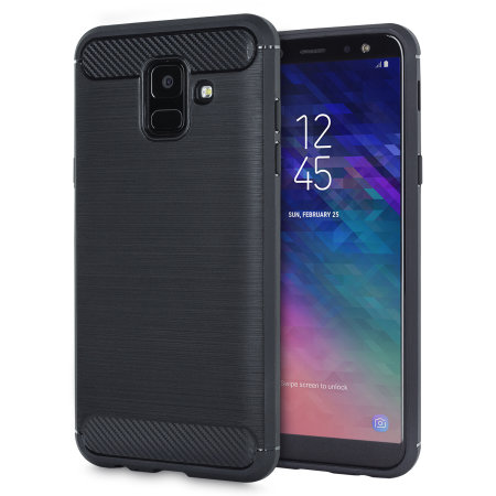 coque samsung galaxy a6 2018 en gel effet fibre de carbone noire. Black Bedroom Furniture Sets. Home Design Ideas