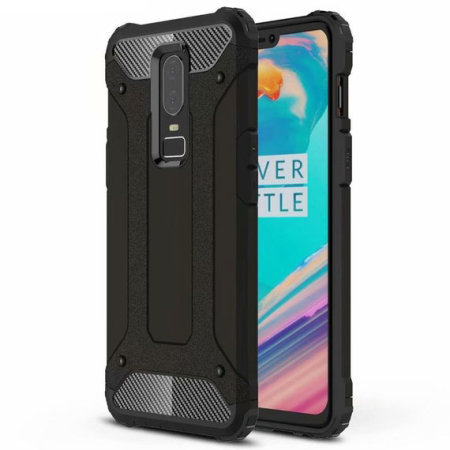 Encase OnePlus 6 Rugged Armour Frosted Metal Case - Black