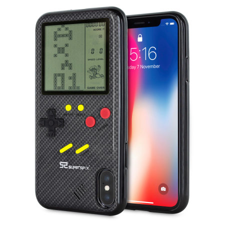 Funda iPhone X SuperSpot Retro Game - Negra Carbono