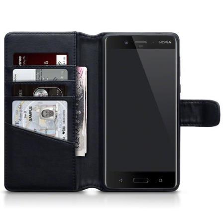 Olixar Nokia 8 Genuine Leather Wallet Case - Black