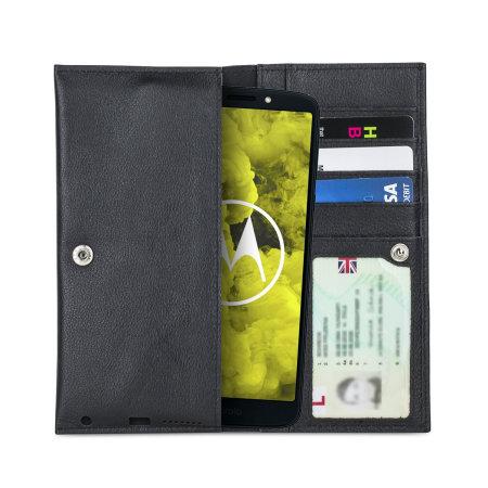 Olixar Primo Genuine Leather Motorola Moto G6 Play Wallet Case - Black