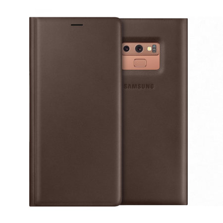 sale retailer 670df 4ed4b Official Samsung Galaxy Note 9 Leather Wallet Cover Case - Brown