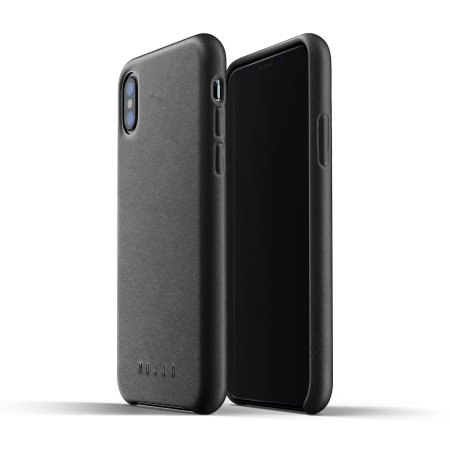 mujjo genuine leather iphone xs max case - black