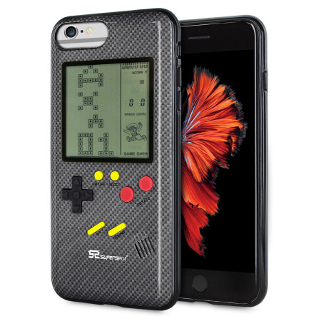 7d4560a3457 Funda iPhone 6 Plus SuperSpot Retro Game - Negra Carbono