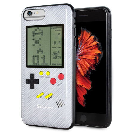 eae968c2c0f Funda iPhone 6 Plus SuperSpot Retro Game - Blanca Carbono