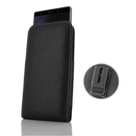 new arrival a1a5a 2df92 PDair Samsung Galaxy Note 9 Leather Pouch Case with Belt Clip - Black