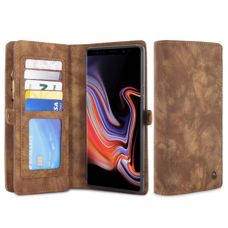 Luxury Samsung Galaxy Note 9 Leather-Style 3-in-1 Wallet Case - Tan