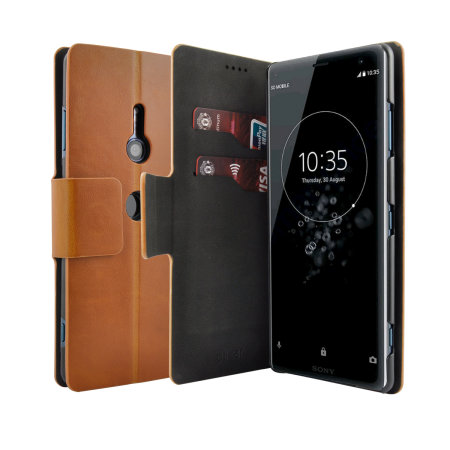 Olixar Leather-Style Sony Xperia XZ3 Wallet Stand Case - Tan