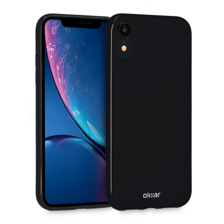 olixar flexishield iphone xr gel case - black