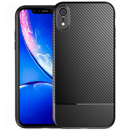 olixar iphone xr carbon fibre case - black