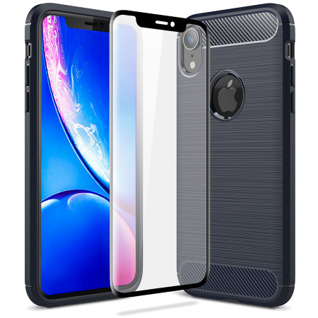 olixar sentinel iphone xr case and glass screen protector - blue