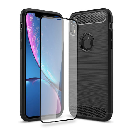 olixar sentinel iphone xr case and glass screen protector - black