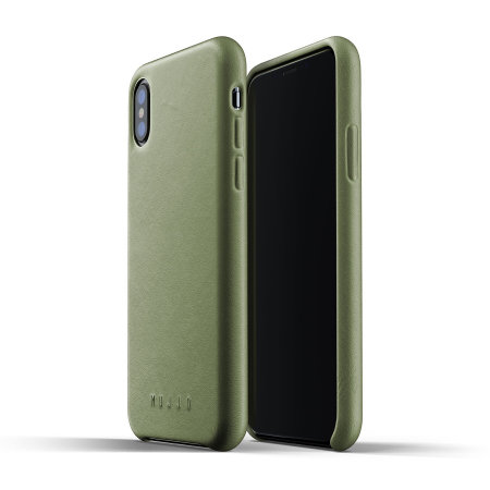mujjo genuine leather iphone xs case - olive