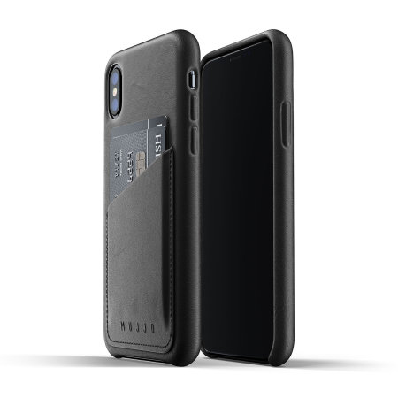 mujjo genuine leather iphone xs wallet case - black