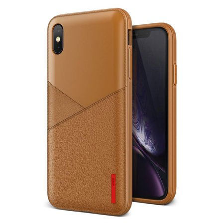 vrs design leather fit label iphone xs max case - brown