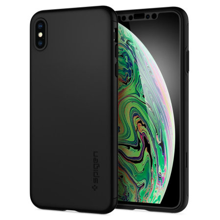 new arrivals 89374 447da Spigen Thin Fit iPhone XS Max Case and Glass Screen Protector - Black
