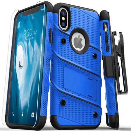 zizo bolt iphone xs max tough case & screen protector - blue / black