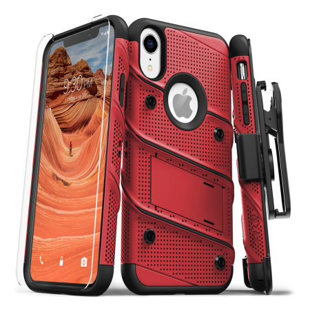 zizo bolt iphone xr tough case & screen protector - red / black reviews