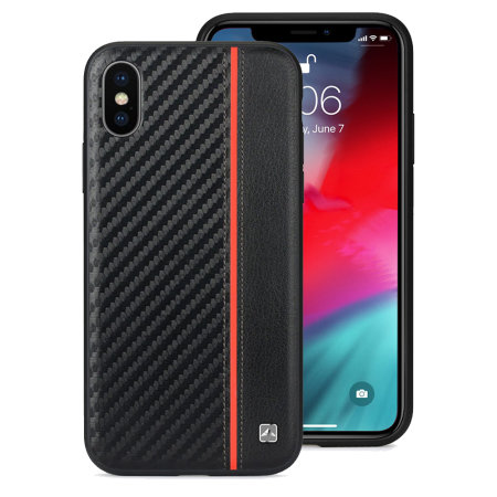 meleovo iphone xs carbon premium leather case - black / red