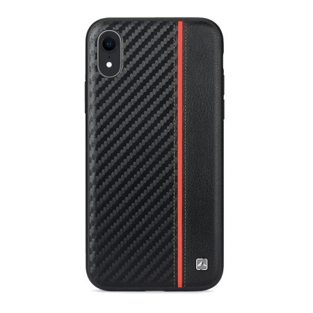 competitive price 97b81 bab33 Meleovo iPhone XR Carbon Premium Leather Case - Black / Red