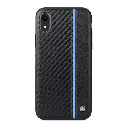 meleovo iphone xr carbon premium leather case - black / blue