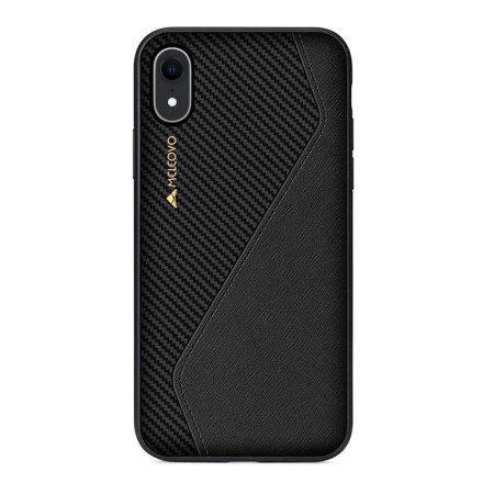 meleovo iphone xr racing premium leather case - black