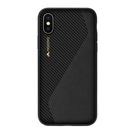 meleovo iphone xs racing premium leather case - black